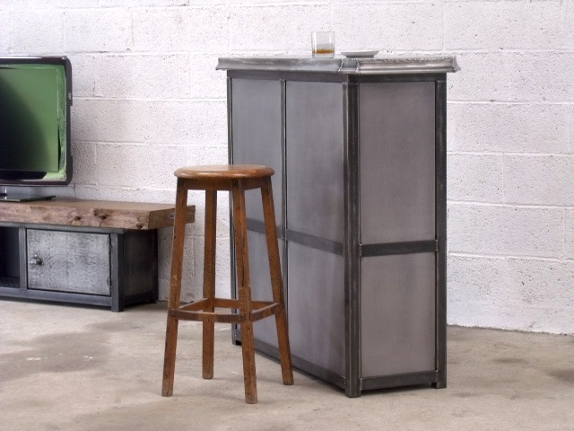 meuble bar métal -zinc | meuble contemporain bois et metal - Meuble Bar Design Contemporain
